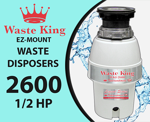 Waste King WKI 2600 Disposal Unit, 1/2 Hp, 240v, 10 Year Warranty – 20% off
