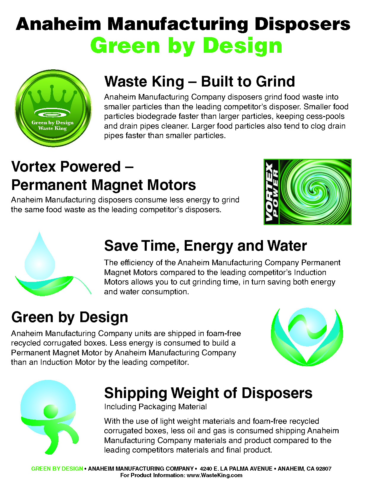Green features of waste king's design