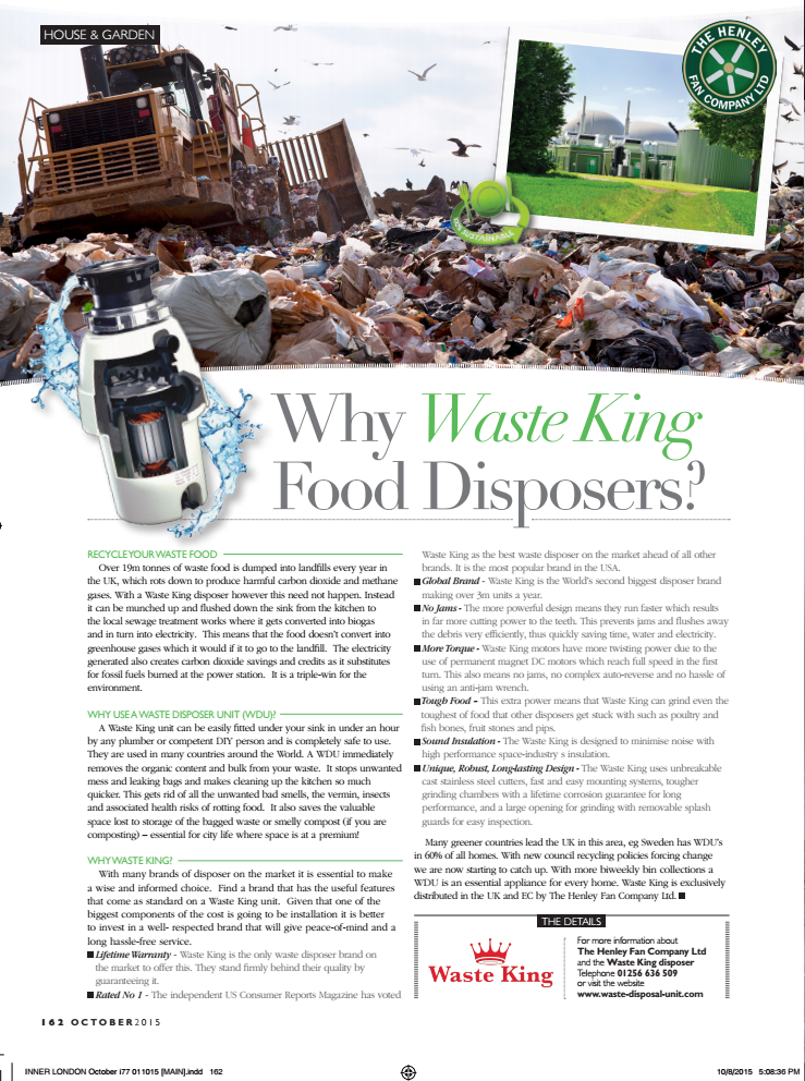 London Life Magazine recommends Waste King